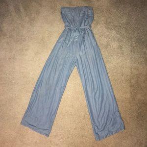 Denim Blue Sleeveless Jumpsuit